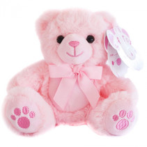 teddybeer meisjes 15 cm pluche/polyester roze