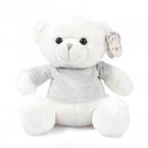 knuffelbeer met shirt 25 cm polyester wit