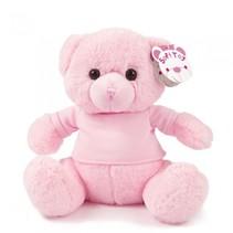 knuffelbeer met shirt 25 cm polyester roze