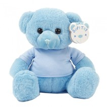 knuffelbeer met shirt 25 cm polyester blauw