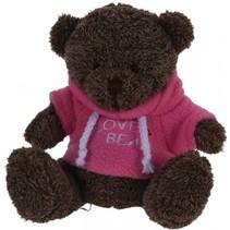 knuffelbeer met trui roze 15 cm bruin