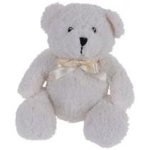 knuffelbeer met strik 17 cm wit
