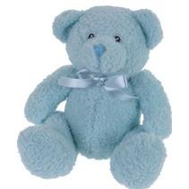 knuffelbeer met strik 17 cm blauw