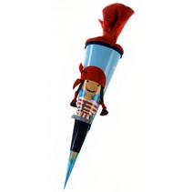 schultüte Piraat Paula 70 cm meisjes vilt blauw/rood