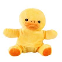warmteknuffel eend junior 10 cm pluche geel/oranje