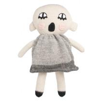 knuffelpop junior 20 cm alpaca wol beige/grijs