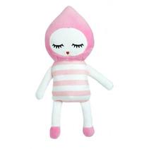 knuffelpop junior 20 cm polyester  roze/wit