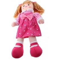 knuffelpop baby rose meisje roze hartjes 40cm