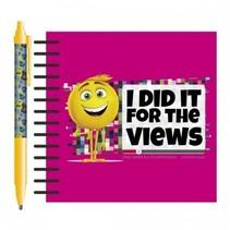 notitieboekje met pen roze 14,5 cm