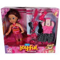 speelset Joyful Shopping meisjes 11 cm roze 6-delig