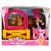 speelset Funny Farm meisjes 11 cm roze/geel 3-delig