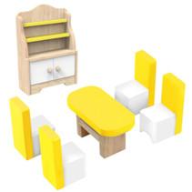 poppenhuisinrichting Eetkamer hout wit/geel 6-delig