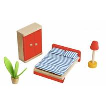 poppenhuisinrichting Slaapkamer hout naturel/rood 4-delig
