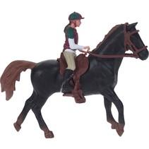 paard met ruiter zwart