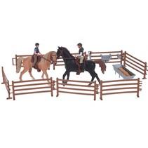 paardenspeelset met 2 paarden 21-delig