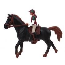 paardenspeelset ruiter met paard zwart 11 cm
