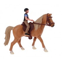 paardenspeelset ruiter met paard bruin 11 cm