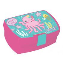 broodtrommel Octopus meisjes 16 x 11 cm roze/mintblauw