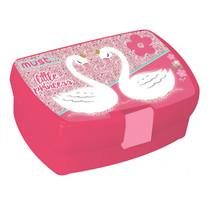 broodtrommel Zwanen meisjes 16 x 11 cm roze