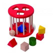 rammelende rol met 6 vormblokken 14 cm rood hout