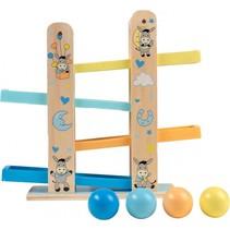 houten ballenbaan ezel 33 cm blauw