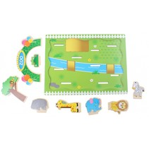 houten plug and play puzzel dierentuin 9-delig
