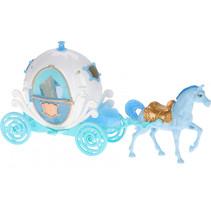 koets met paard meisjes blauw/wit 2-delig
