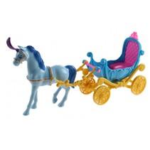 paard met koets Fashion Carriage 23 cm blauw