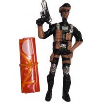 speelfiguur Parachutist jongens 9 cm zwart/oranje