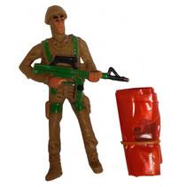 speelfiguur Parachutist jongens 9 cm bruin/oranje