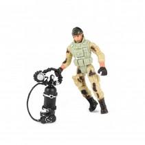 speelset soldaat met accessoire duikfles 8-delig 11 cm