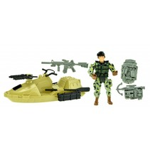 speelset Army soldaat met jetski 5-delig legergroen