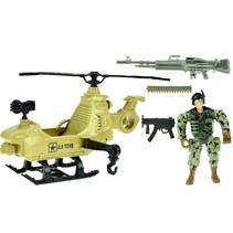 speelset Army soldaat met helikopter 5-delig legergroen