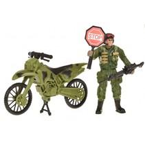 speelset Army soldaat met motor 4-delig legergroen