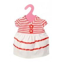 babypoppenjurk gestreept 46 cm wit/rood