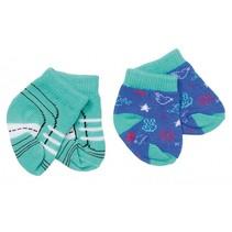 sokken Trend 43 cm dubbelverpakking groen/blauw