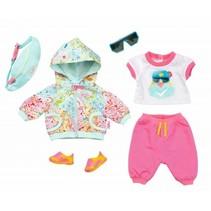 kledingset voor pop tot 43 cm roze/turquoise 6-delig