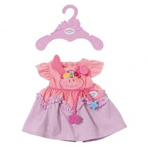 jurkje voor pop van 43 cm roze/paars