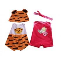 kledingsetjes voor poppen van 38 tot 40 cm tijger/rood