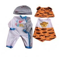 kledingsetjes voor poppen van 38 tot 40 cm grijs/tijger