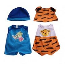 kledingsetjes voor poppen van 38 tot 40 cm blauw/tijger