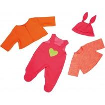 kledingset 38 cm roze/oranje 4-delig