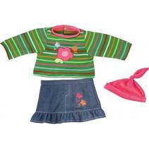kledingset 38 cm groen/blauw/roze 3-delig