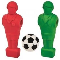 set gummen Kick It 8 cm junior rood/groen 3-delig
