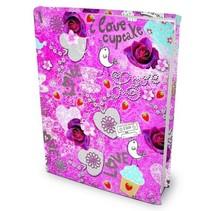 rekbare boekenkaft Romantic A4 textiel/elastaan roze