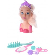 kaphoofd blond haar met accessoires 17 cm roze