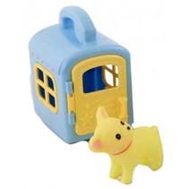 hond met hokje junior 27,5 cm geel/blauw 2-delig