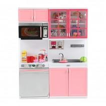 poppenkeuken Lauren Deluxe met licht en geluid grijs/roze
