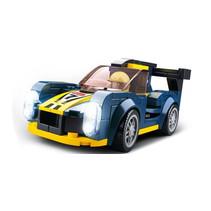 raceauto Endurance junior 12,7 cm blauw/geel 154-delig