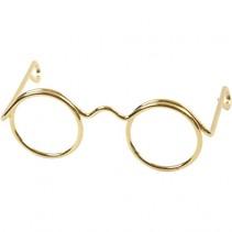 Poppenbril 35 mm goud 10 stuks